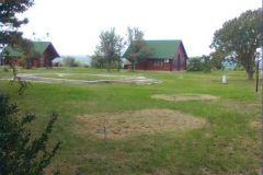 Территория санатория богата зеленью, вдали - деревянные коттеджи